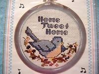 NEW BERLIN MUSICAL COUNTED CROSS STITCH KIT-HOME TWEET HOME SAMPLER-BIRD-FRAME