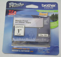 """GENUINE Brother P-Touch TZe-151 1"""" Black Print on Clear Tape TZ-151 Tape New"""