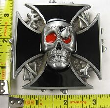 PIRATE METAL BELT BUCKLE IRON CROSS SKULL MALTESE B21