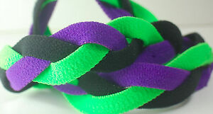Purple Black Lime Green Braided Hair Band Head Under Headband Armour Non Slip