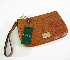 Ralph Lauren Leather Clutch Wristlet Stockbridge Croc Tan Brown MSRP $98 - NWT