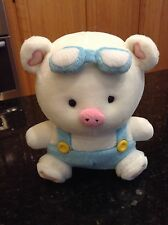 "Hannari Tofu Boy PIG Mascot Plush Blue and Pink 8"""