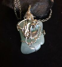 Aquamarine Stone Wire Wrap With Swan Charm Necklace