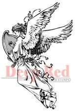 Deep Red Stamps Angel with Harp Rubber Cling Stamp