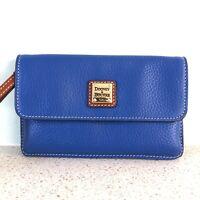 Dooney & Bourke Blue Pebble Milly Leather Wristlet NWOT