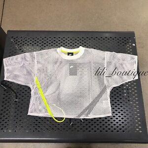 NWT Nike AR3033-100 Women's NSW Sportswear Short Sleeve Mesh Top White Size S