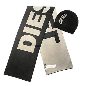 DIESEL Mens Womens Spellout Logo Beanie Cap Hat and Scarf Set Black (MSRP $98)