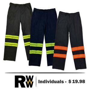 Reflective Hi Vis Work Pants Polyblend Flat Front Industrial Uniform