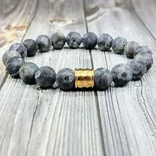 "HIP 8""L GOLD STAINLESS STEEL 10mm Matte Labradorite Gemstone Beaded Men Bracelet"