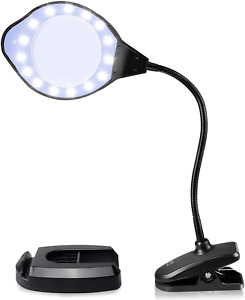 Magnifying Glass Lamp 2X 4X LED Light with Clip and Flexible Neck USB Powered
