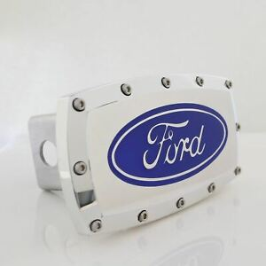 Ford Logo Billet Tow Hitch Cover (Blue on Chrome)