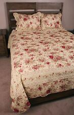 Queen Quilt Set Shabby Antique Tea Roses Chic Cotton