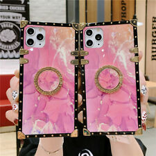 For iPhone 12 11 Pro Max XR 8 Pink Square Ring Holder Cute Protective Case Cover