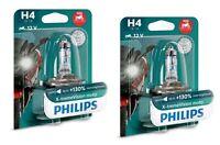 2x Philips H4 X-treme Vision MOTO +130% Licht Power für Motorrad XP 12342XV+BW