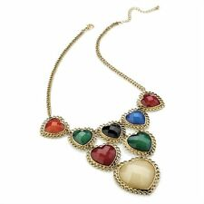 VINTAGE THRIFT GRANNY STYLE GOLD BRIGHT STATEMENT MULTI HEART ESTATE NECKLACE