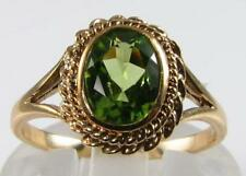 LOVELY LARGE  ENGLISH 9CT 9K GOLD 8mm x 6mm NATURAL PERIDOT SOLITAIRE RING