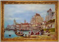Ölbild Köln1840 Blick auf den Rhein, W.L. Leitch ÖLGEMÄLDE HANDGEMALT F:60x90cm