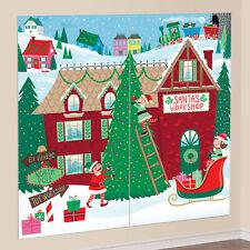 Santa's Workshop Large Christmas Wall Scene Setter Backdrop Party Decoration