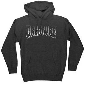 Creature Logo Outline Heavyweight Pullover Hoodie Charcoal Heather LARGE