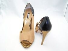 Size 7  black and beige open toe, stiletto heel shoes from Next