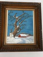 Vintage Folk Art Winter Snow Scene Oil Painting Red Barn Rustic 1962 Signed
