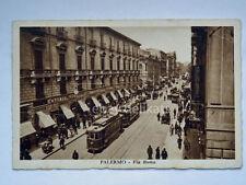 PALERMO TRAM Via Roma emporio animata vecchia cartolina