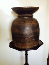 "ANTIQUE NEPALESE MILK-BUTTER CHURN VAT & LID. Carved Wood, 16"" H, 12"" W. 6kg"