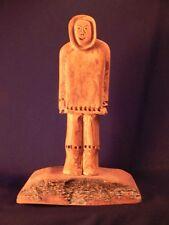 INUIT ESKIMO SCULPTURE Vintage Hand Carved Driftwood Male Figure Alaska Signed