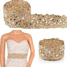 Hand Beaded Bridal Border 1 YD Trim Golden Craft Lace Pearls COLLECTIBLE EDH