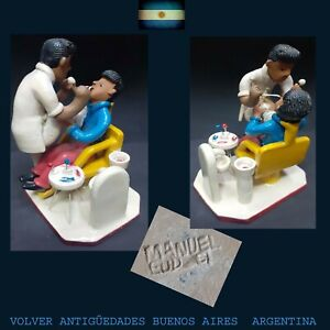 MANUEL EUDOCIO brazilian funny folk art dentist clay figure FREE SHIPPING
