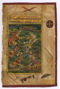 Indian Mughal Battle Miniature Painting Original Paper Watercolor War Rare Scene