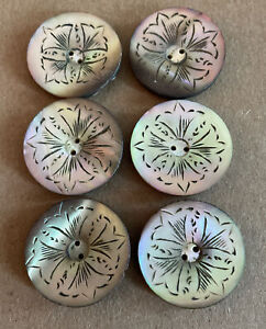 """Large Smoky Carved Antique Antique Mother of Pearl MOP Buttons — 1 1/16"""""""