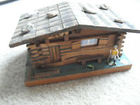 "Vintage 1950s Wood Switzerland Marked Cottage Jewelry Music Box 3 1/2"" Tall"