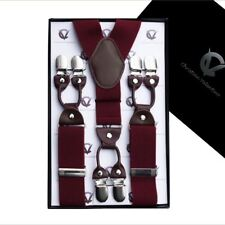 Burgundy with Leather Attachment Y3.5cm Extra Large Braces  Mens Suspenders