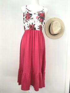 size 12 AUS  new womens dress hot pink floral tank womens dress