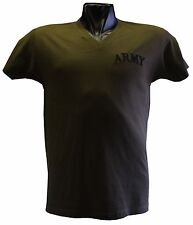 ARMY OLIVE T SHIRT V-NECK  SIZE S