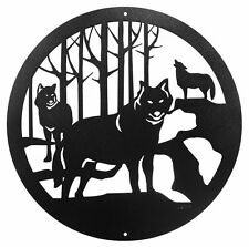 """Swen Products Wolf Wildlife Coyotes Steel 12"""" Scenic Art Wall Design"""