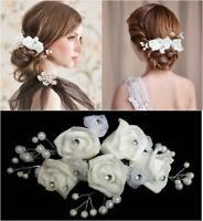 Haarblume Blume Haarschmuck Perlen Blüte Haargesteck Hochzeit Braut Kommunion