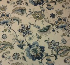 "P KAUFMANN OPHELIA IRIS BLUE JACOBEAN FLORAL MULTIUSE LINEN FABRIC BY YARD 54""W"