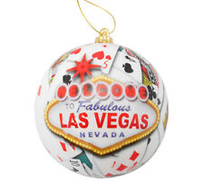Las Vegas Sign Christmas Tree Ball Ornament Holiday Poker Playing Cards White