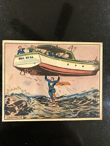 🔥1940 Superman Gum Trading Card #10 Fury Of The Sea Great Condition Original