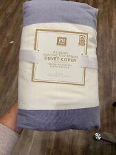 New Pottery Barn Teen Organic Huntington Stripe Duvet Full/Queen Navy Blue