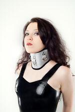 Halsband Halskorsett aus PU - Leder Silber mit O-Ring