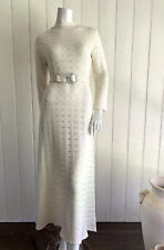 Vintage Knitted Dress Size 8 10 Midi Long Sleeve Wedding 60s 70s