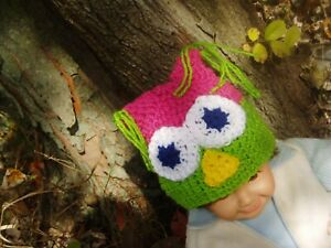 Crochet Owl Hat 3 - 6 Month Baby Girl Pink & Green Photo Prop Hat Handmade