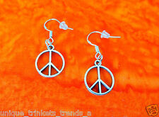 SILVER PEACE SIGN SYMBOL LOVE WORLD HIPPIE BOHO DANGLE EARRINGS~STERLING HOOK