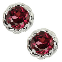 2.00 Ct 6mm Round Rhodolite Garnet 925 Sterling Silver Stud Earrings 6mm