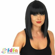 BLACK STRAIGHT WIG WITH FRINGE SINGER CLEAOPTRA WIG  - womens ladies fancy dress