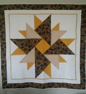 Custom Quilted Double Aster Golds FINISHED QUILT Handmade Browns