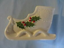 """Lefton Sleigh Vintage White Holly/Berries  6""""  x 4 1/4"""" Signed Marked 1983 EC"""